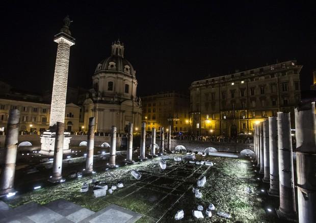 Visita guidata notturna a Roma lungo i fori imperiali dal Colosseo
